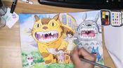 水彩手绘 龙猫