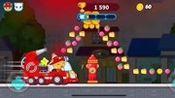 【蘑菇】金杰开着消防车抓小浣熊都让开! 汤姆猫快跑游戏