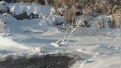 中国最北端的漠河零下39度,河水的上边全是雪花,下边的河水依旧流动!
