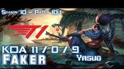 [LOL第一视角]T1 Faker YASUO vs NOCTURNE Mid - Patch 10.1 KR Ranked