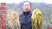 【云上贵州农村特色菜】挖野生折二根(鱼腥草)和自己做的无盐酸菜来做一道麻辣爽口的凉菜!
