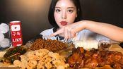 【Eat with Boki】韩国美女姐姐文福姬|最优雅大口吃播 炸酱面+大鸡腿 咀嚼声 {倍速+倒放}