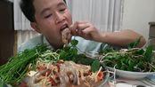 【泰国吃播】臭菜~鱼腥草~木瓜海鲜沙拉~苦瓜~豆苗~