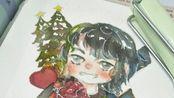 [水彩]老师不让过圣诞,说谁过谁扣分!那我画一张圣诞贺图吧!祝大家圣诞节快乐!