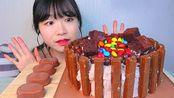 ☆ young-ee ☆(剪说话)自制KitKat+布朗尼+M&Ms巧克力奶油蛋糕、Tico巧克力脆皮冰淇淋 食音咀嚼音(新)