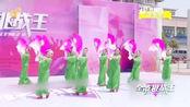 绿衣红扇像牡丹,临沂市广场晚霞舞蹈队精彩演绎舞蹈《向往》