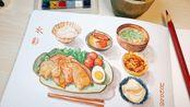 【手帐美食教程】适合画在手帐上的水彩小食物 (三月请对我好一点)