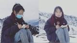西藏女孩在4800米雪山顶上网课 下雪天被冻得手脚冰凉
