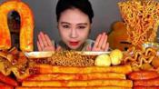 {倒放+倍速}【Fran卡妹】炒年糕+拉面 大口吃真满足 韩国大胃王吃播