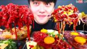 {含倒放+倍速}《深渊巨口》【UDT小哥】生牛肉鱼片拌饭 大口吃真满足 韩国大胃王吃播