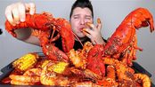 【Nikocado Avocado】海鲜煮沸大闸蟹腿、全龙虾、大虾、香肠、土豆和玉米木桶(2019年12月10日5时45分)