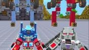迷你世界:擎天柱和威震天开着战车机器人pk,炮火连天,场面壮观(1)