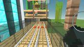 """《我的世界》:建造,跟据观众反馈我正式把线路改命为""""松横线""""这次我把线路延长了,并在后面升高柱子、周围添加建筑_第2期"""
