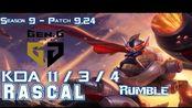 [LOL第一视角]Gen Rascal RUMBLE vs SION Top - Patch 9.24 KR Ranked