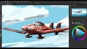 【PS板绘】灵感是还是蟹柳 很快画一个飞机小场景
