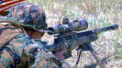 美国海军陆战队射击AWM狙击步枪 (L115A3-338拉普马格南 8.59mm)