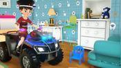 小警察把各种颜色轮胎的警车玩具运回家了哟!少儿色彩启蒙-彩虹桥王国——吃豆人卡通早教-彩虹桥王国