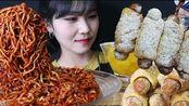 【Haeeon Eats】自制网红迷你热狗+辣火鸡面+韩式酱萝卜+冰可乐 超过瘾美食咀嚼音