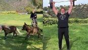 73岁硬汉施瓦辛格的隔离生活:骑车遛马和驴 开卡车举铁健身