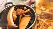 香港特色小吃卤水大墨鱼,55块一份现切先卖,生意火爆顾客排队买