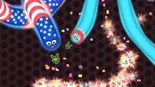 贪吃蛇大作战:隐藏在大蛇身下的小蛇,有趣游戏视频