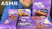 【russian eating】新的米尔卡巧克力快餐派对——布朗尼、面包、棒和巧克力(吃声音)(2019年11月7日20时15分)