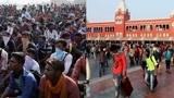印度钦奈因疫情紧急封城,数千民工捂丝巾滞留火车站无法返乡