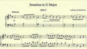 贝多芬 G大调小奏鸣曲 Anh.5 第一乐章