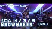 [LOL第一视角]DWG Showmaker AKALI vs FIZZ Mid - Patch 9.24 KR Ranked