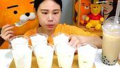 大胃王萌妹子吃奶油蛋糕、喝珍珠奶茶,看这吃法,我突然感觉饿了