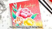 【卡片】浅色印台搭配印章制作无线稿上色效果花朵卡片教程|No-Line Watercoloring with Spring Peony