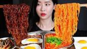 {倒放+倍速}【Fume】炸酱面+香辣拉面 大口吃真满足 韩国吃播