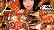 (SULGI)自制大豆螃蟹+鲍鱼+虾+三文鱼汤(字幕在下面)