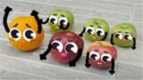 创意涂鸦:涂鸦的美好生活,水果涂鸦在做早操!