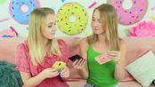搞笑游戏恶作剧,可爱妹子制作精美手机套,闺蜜互动制作粘球衣