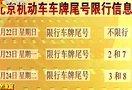 7月22日北京机动车车牌尾号限行信息