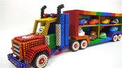 创意巴克球教程,彩虹巴克球制作大型货柜车,双层结构