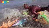 巨龙找到恐龙霸王龙和剑龙玩具,婴幼儿宝宝玩具过家家游戏视频G217