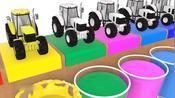 拖拉机进入颜料杯染了颜色!少儿色彩启蒙-彩虹桥王国——吃豆人卡通早教-彩虹桥王国