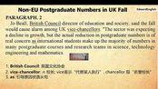 四级真题 阅读理解 CET4 2013 12 Non-EU Postgraduate Numbers in UK Fall