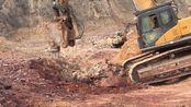 山西吕梁上海上鸣SV-E6高频破碎锤装备在三一465挖掘机上破碎铝石矿1