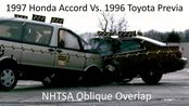 【碰撞测试】1997年本田雅阁与1996年日产普瑞维亚NHTSA倾斜重叠碰撞试验