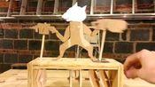 【油管搬】狐狸的机关枪战役 automata木质机械玩具木偶机机械传动装置木机山工作室