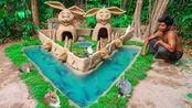 拯救小兔,给小兔盖豪华宫殿和鱼塘,小哥手也太巧了【荒野TV】