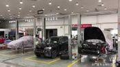 2018年6月13日广昌保时捷改装维修连锁的车间,就算是暴雨也是满满的保时捷前来改装