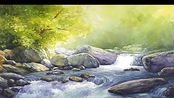 Watercolor landscape painting - Waterfall forest