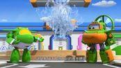 超级飞侠:小青和奇奇制造音乐喷泉,乐迪路过,结果被喷了一身水