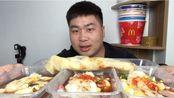 外卖53元买广东肠粉,五份肠粉一个鸡蛋灌饼,一点不剩全吃光,这吃相也是没谁了!
