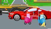 汽车城:拖车汤姆拯救打滑翻车的赛车,被水泥粘住挖掘机