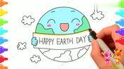 .世界地球日简笔画,珍爱地球保护环境,手抄报也用得上